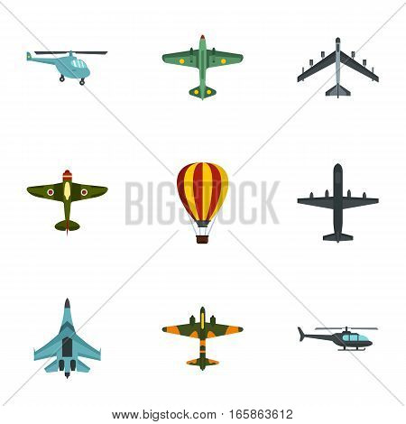 Military aircraft icons set. Flat illustration of 9 military aircraft vector icons for web