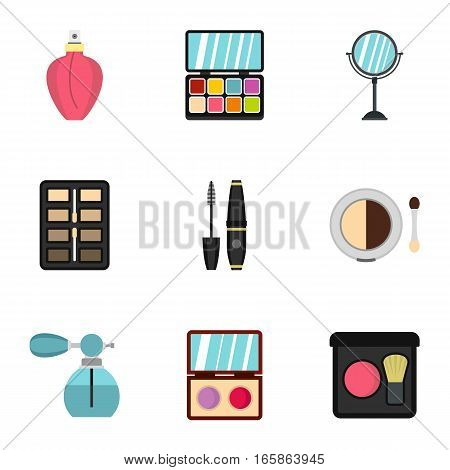 Makeup icons set. Flat illustration of 9 makeup vector icons for web