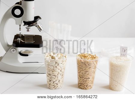 Food quality control in laboratory no one close up