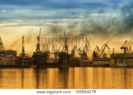 Big city industrial port on a sky background