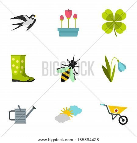 Tending garden icons set. Flat illustration of 9 tending garden vector icons for web