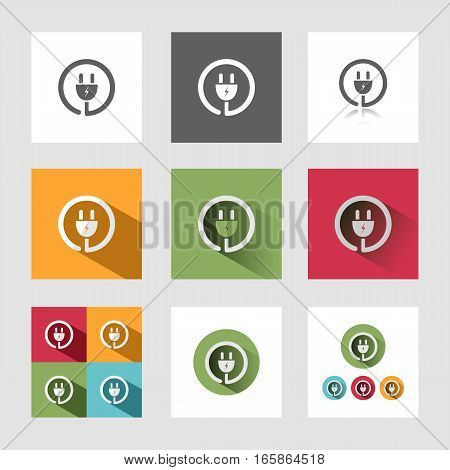Plug icon in different versions on grey background