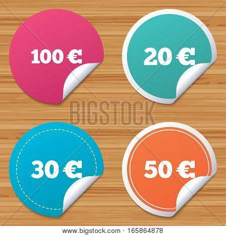 Round stickers or website banners. Money in Euro icons. 100, 20, 30 and 50 EUR symbols. Money signs Circle badges with bended corner. Vector