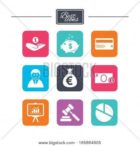 Money, cash and finance icons. Piggy bank, credit card and auction signs. Presentation, pie chart and businessman symbols. Colorful flat square buttons with icons. Vector