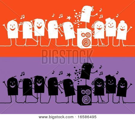 silhouettes cartoon - party
