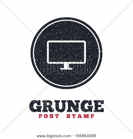 Grunge post stamp. Circle banner or label. Computer widescreen monitor sign icon. Dirty textured web button. Vector