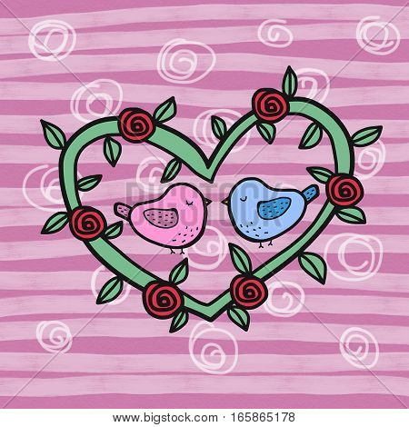 Birds couple kissing in heart rose wreath cartoon illustration