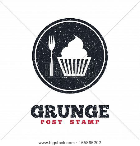 Grunge post stamp. Circle banner or label. Eat sign icon. Dessert trident fork with muffin. Cutlery symbol. Dirty textured web button. Vector