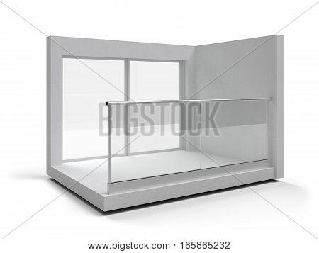 Aluminum frameless glass balustrade and handrail. 3d illustration poster