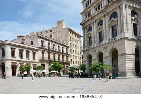 HAVANA CUBA - JULY 212016: Plaza de San Francisco. The plaza is one of four plazas laid out in the 17th century it takes its name from the Franciscan Convent built there.