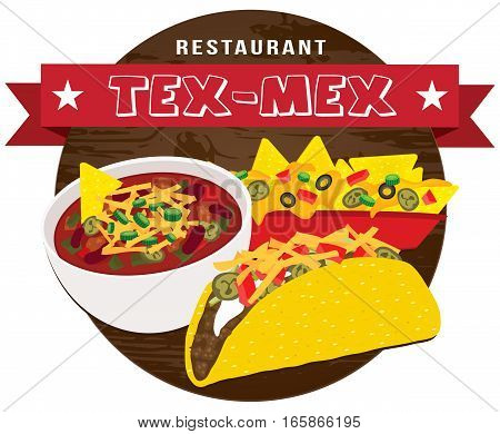 Tex mex food banner on wooden background vector illustration with nacho taco and chili bowl ai.10