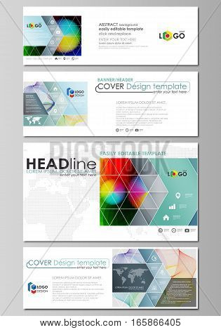 Social media and email headers set, modern banners. Business templates. Easy editable abstract design template, flat layout in popular sizes, vector illustration. Colorful design with overlapping geometric shapes and waves forming abstract beautiful backg
