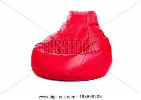 Right side view of nice new and soft red beanbag isolated on white background