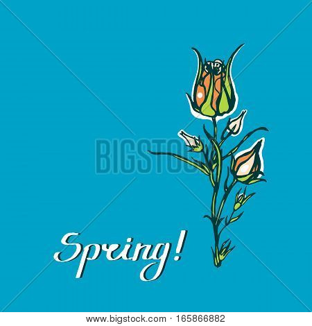 Geum rivale. Spring! Greeting card with a bouquet of flowers. Lettering. Hand drawn. Vector illustration.
