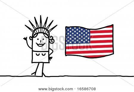 Liberty and USA flag