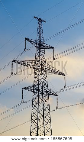 High voltage electricity pylons against sun set