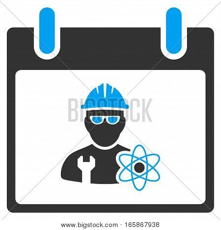 Atomic Engineer Calendar Day vector toolbar icon. Style is bicolor flat icon symbol blue and gray colors white background.