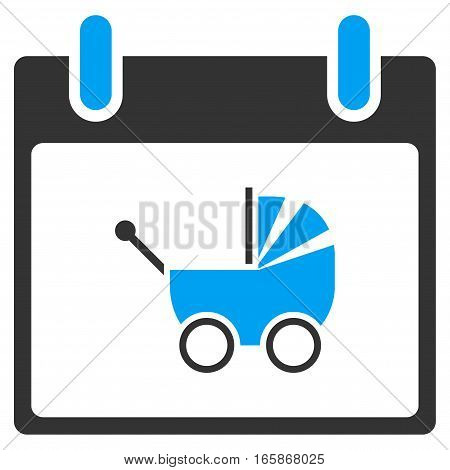 Baby Carriage Calendar Day vector toolbar icon. Style is bicolor flat icon symbol blue and gray colors white background.