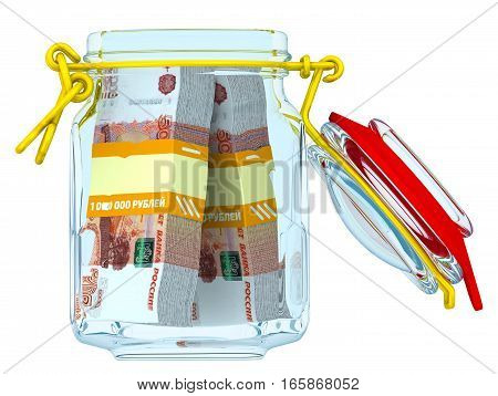 Open glass Jar for canning with bundles of 5000 Russian rubles banknotes on a white surface. Financial concept. Isolated. 3D Illustration