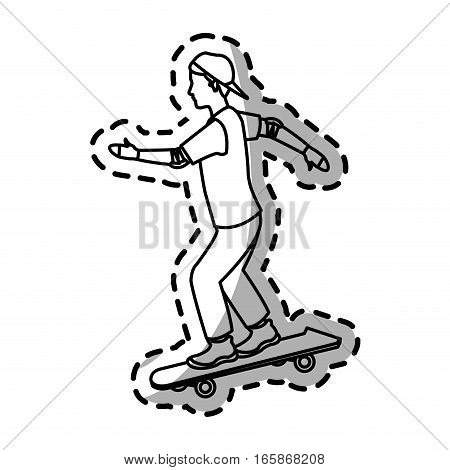 man riding skateboard cartoon icon over white background. vector illustration