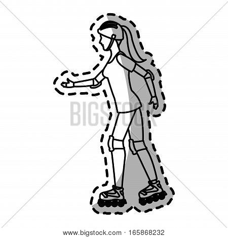 woman on the roller skates cartoon icon over white background. vector illustration