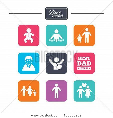 People, family icons. Swimming pool, love and children signs. Best dad, father and mother symbols. Colorful flat square buttons with icons. Vector