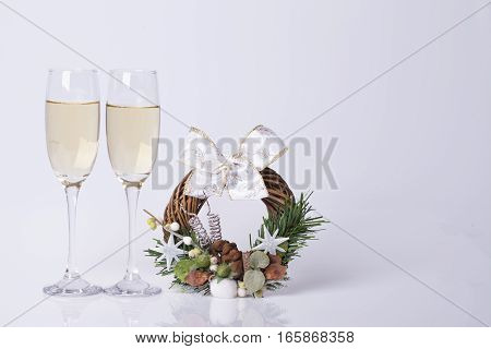 New Years and Christmas decoration on the table