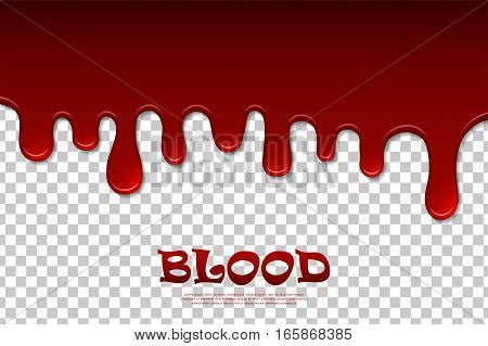 Dripping blood isolated pattern. Flowing red liquid dripping wet decor border. Vector illustration
