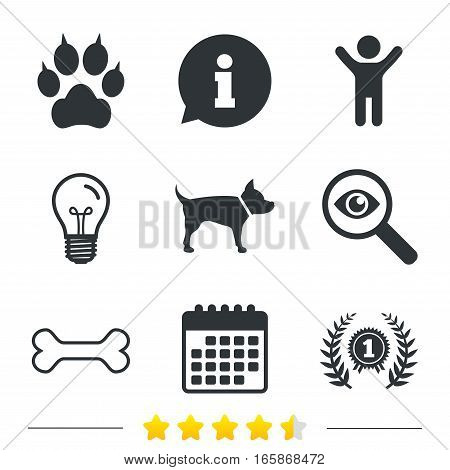 Pets icons. Cat paw with clutches sign. Winner laurel wreath and medal symbol. Pets food. Information, light bulb and calendar icons. Investigate magnifier. Vector