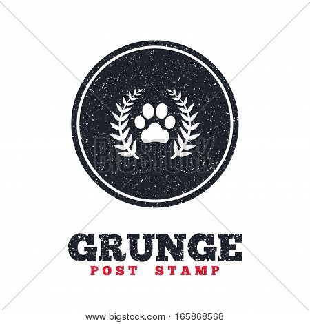 Grunge post stamp. Circle banner or label. Winner pets laurel wreath sign icon. Dog paw symbol. Dirty textured web button. Vector