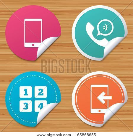 Round stickers or website banners. Phone icons. Smartphone incoming call sign. Call center support symbol. Cellphone keyboard symbol. Circle badges with bended corner. Vector