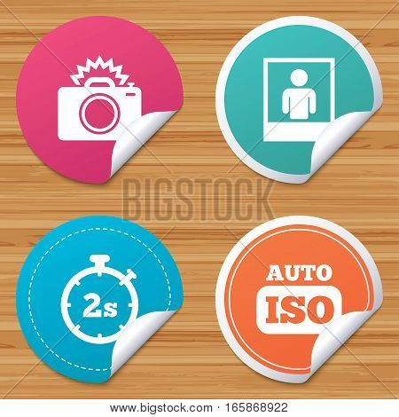 Round stickers or website banners. Photo camera icon. Flash light and Auto ISO symbols. Stopwatch timer 2 seconds sign. Human portrait photo frame. Circle badges with bended corner. Vector