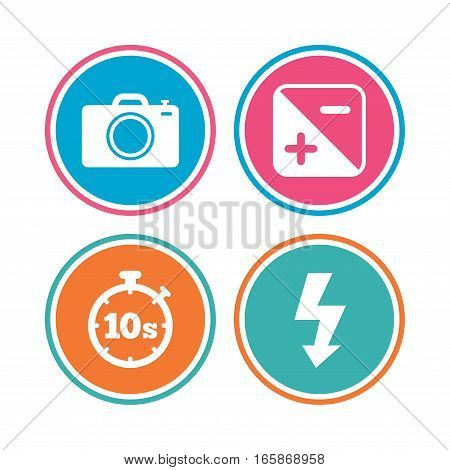 Photo camera icon. Flash light and exposure symbols. Stopwatch timer 10 seconds sign. Colored circle buttons. Vector