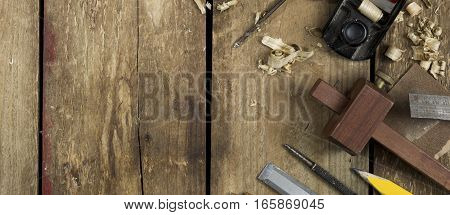 Carpentry Tools Banner Image On Wood