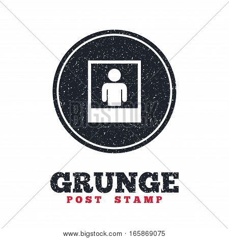 Grunge post stamp. Circle banner or label. Photo frame template with human selfie sign icon. User portrait photography symbol. Dirty textured web button. Vector