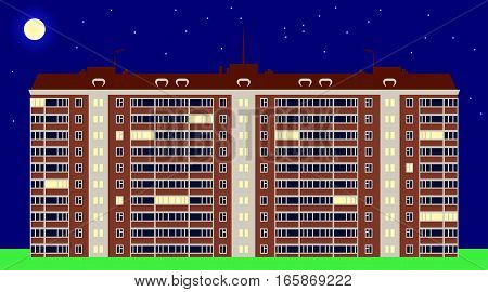 Typical serial block of flats in evening time, in several windows lights on. Vector illustration