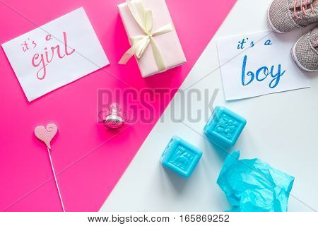 birth of child - baby shower concept boy or girl top view