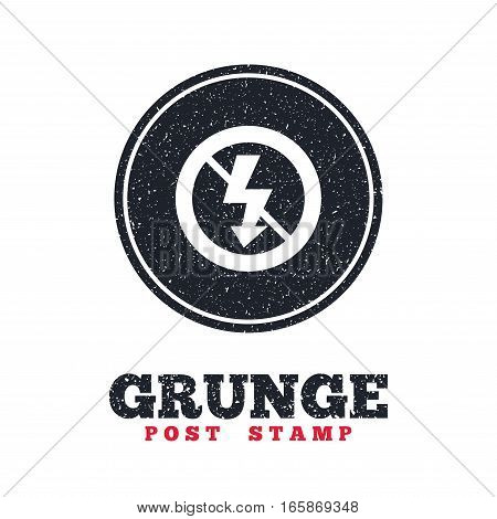 Grunge post stamp. Circle banner or label. No Photo flash sign icon. Lightning symbol. Dirty textured web button. Vector