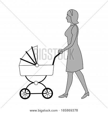 woman with baby carriage cartoon icon over white background. vector illustration