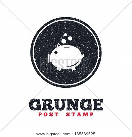 Grunge post stamp. Circle banner or label. Piggy bank sign icon. Moneybox symbol. Dirty textured web button. Vector
