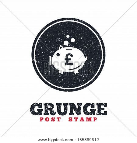 Grunge post stamp. Circle banner or label. Piggy bank sign icon. Moneybox pound symbol. Dirty textured web button. Vector