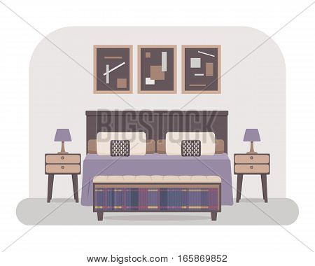 Flat style vector illustration of a bedroom interior. Bed with pillows and cushions bedside tables with lamps pictures shelf with books.