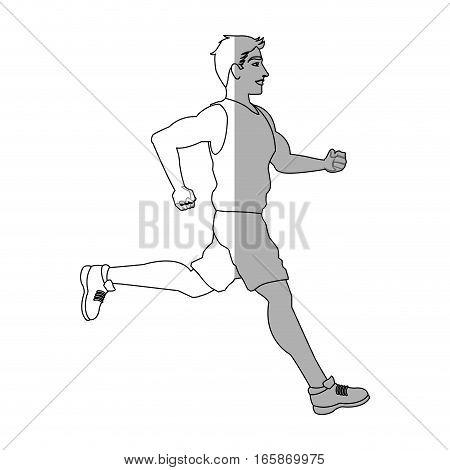 man running cartoon icon over white background. vector illustration