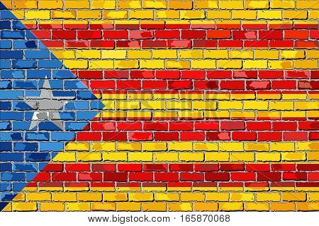Catalan flag with a white star in brick style - 3D Illustration, Catalan national flags on brick textured background, Catalonia flag painted on brick wall