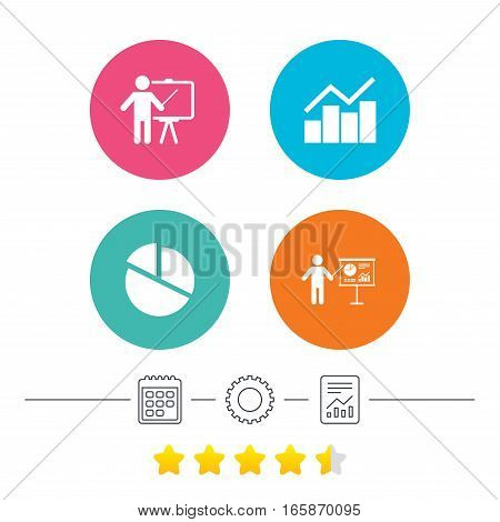 Diagram graph Pie chart icon. Presentation billboard symbol. Man standing with pointer sign. Calendar, cogwheel and report linear icons. Star vote ranking. Vector