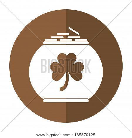 pot full coins shamrock decoration celebration st patrick day shadow vector illustration eps 10