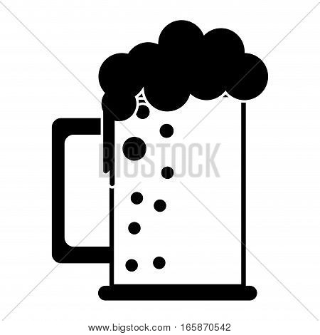 silhouette saint patrick day mug of beer foam bubbles cold vector illustration