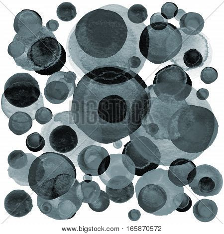 Modern background of gray and black transparent bubbles painted in watercolor. Abstract monochrome pattern with ink circles and dots.