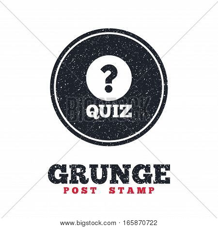 Grunge post stamp. Circle banner or label. Quiz with question mark sign icon. Questions and answers game symbol. Dirty textured web button. Vector