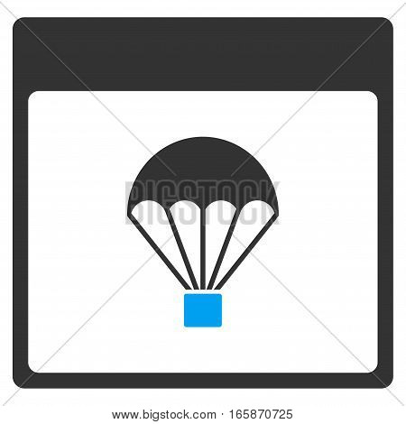 Parachute Calendar Page vector toolbar icon. Style is bicolor flat icon symbol blue and gray colors white background.
